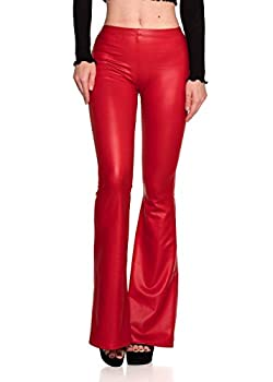 Women s J2 Love Faux Leather Bell Botom Flare Pants Small Red