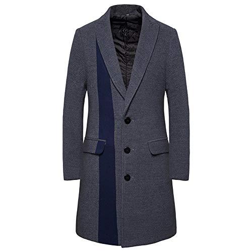 Herren Trenchcoat Winter Elegant Jacke Outwear Slim Fit Trenchcoat mit Doppeltasche Gr. XXL, grau