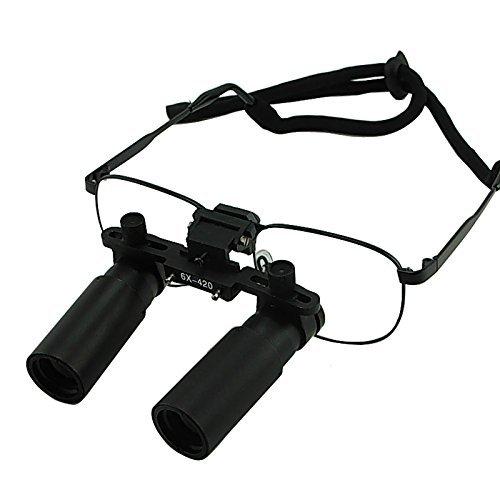 6.0x Vergrößerung Lupenbrille, Prismatic Keplerian Style Nickel-Legierung Rahmen, 45mm Sichtfeld + 25mm Schärfentiefe Loupe + 420mm Arbeitsabstand, Flip-Up Flexible Optical Glass Loupe
