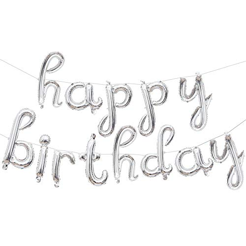Happy Birthday Letters Foil Mylar Letters Balloons Party Decorations Supplies Silver