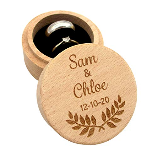 Engravable - Personalised Wedding Ring Box, Engagement Ring Box | Beechwood Ring Holder Box for Two Rings with Double Cut Pillow, Cushion | Wedding Keepsake, Gift, Ring Bearer | Personal Engraving