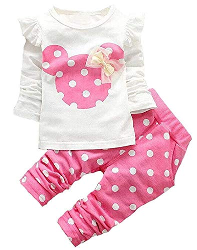 Baby Girl Clothes, 2 Pieces Long Sleeved Cute Toddler Infant Outfits Kids Tops and Pants Set(3-4T,Pink)