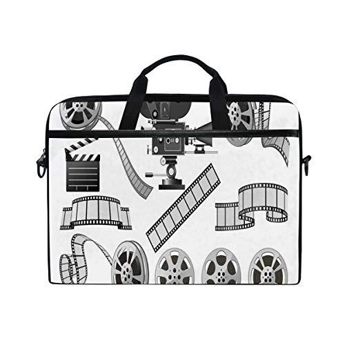 VICAFUCI New 15-15.4 Zoll Laptop Tasche,Umhängetasche,Handtasche,Filmindustrie-themenorientierte Graustufen-Illustration des Projektorfilms Slate and Reel