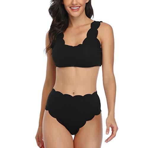 Lu's Chic Women's Scalloped Bikini Wavy Edge Swimsuit Textured Lace Up Cute Two Piece Swimwear Black Medium
