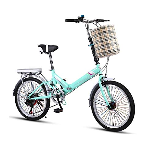Ultra-Light Portable Folding Bicycle Lightweight Cruiser Bike 7 Speed For Women Children Adult Male And Students Shock Absorption Bike With With Back Rack And Bells,Basket,68-hole Color Spokes ,20 Inc