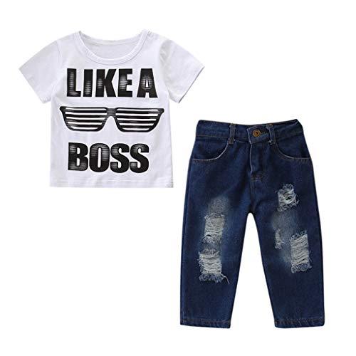Julhold Peuter Kinderen Baby Jongen Vrije tijd Mooie Outfits Kleding Letter Print T-Shirt+Denim Broek Jeans Set 2019Nieuwe 1-6 Jaar