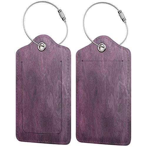 FULIYA Juego de 2 etiquetas de equipaje, de piel de alta gama, para maletas, tarjetas de visita, para bolsa de identificación, superficie, textura, manchas, color morado