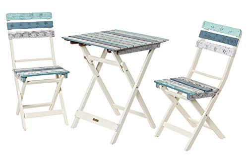Deliano - Bistro Balkon Set aus Holz - platzsparend klappbar im Boat Shabby Look, 3-teilig - 1 Tisch 2 Stühle