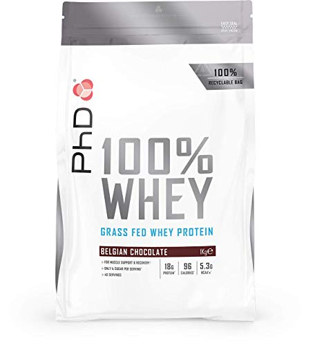 PhD Nutrition 100% Whey, Grass fed whey protein, Belgian Chocolate, 1 kg