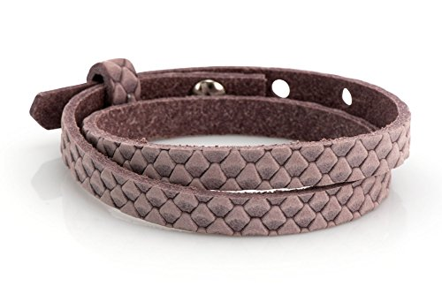 Lederarmband - rosa Reptilmuster, 43cm, Schmuck-Armband für Schiebeperlen
