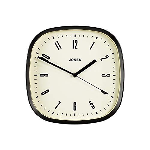 JONES CLOCKS ® Marvel Wanduhr, quadratisch, Retro-Design, Mattes schwarzes oder grau, mit cremefarbenes Zifferblatt, 30 cm