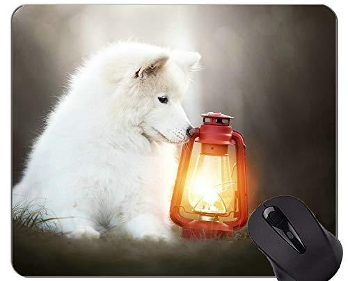 Mousemat Almohadillas para ratón, Perro Linterna para Mascotas Perro Samoyedo - Bordes cosidos