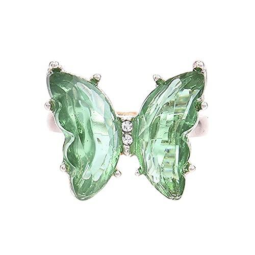 WDFGSA Butterfly Anillo Púrpura Moda Popular Temperamento Dulce Romántico Joyería Mujer Niña Regalo de Boda (Main Stone Color : AL927)