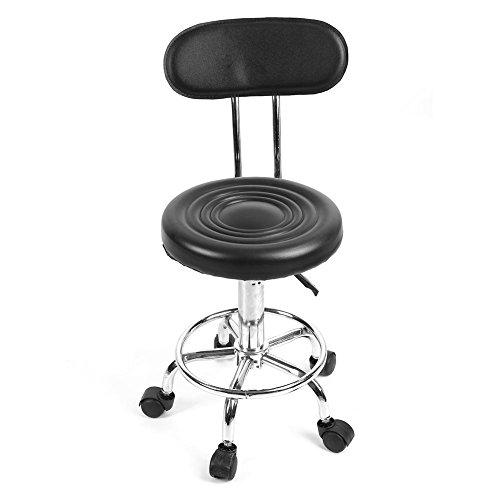 Sgabello arrotolabile con schienale sgabelli da bar rotondi girevoli sedia da parrucchiere regolabile sgabello da lavoro per salone di trucco, cosmeti
