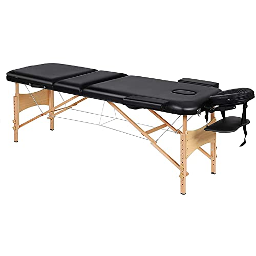 BUSUANZI Mesa de Masaje Plegable, Cama de Masaje portátil Profesional con 3 Secciones Cabeza ergonómica de Madera para Terapia Tatuaje Salón SPA Tratamiento Facial