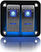 2Gang 5Pins Rocker Switch Panel 10A 20A 12V Waterproof Mini with 2 Dual Blue LED Light Fit for Marine/RV/Yacht/Ship/Steamship/Special Vehicle