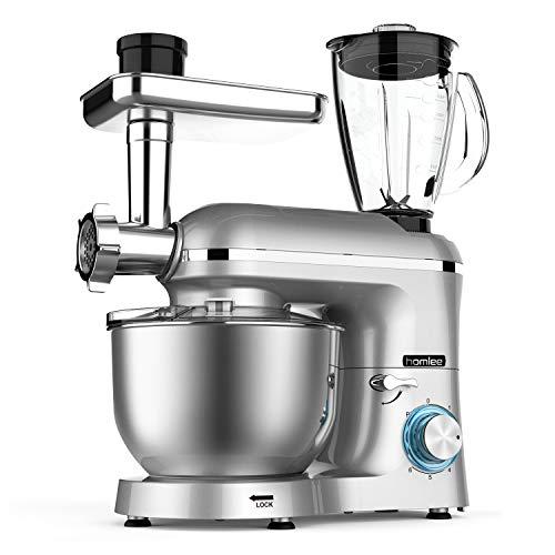 Homlee1800W Robot de Cocina Multifunción, Batidora Amasadora Reposteria, Picadora, Licuadora de vidrio, 5.5L Tazón De Acero Inoxidable,Plata