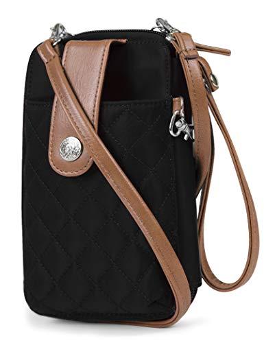 MUNDI Jacqui Vegan Leather RFID Womens Crossbody Cell Phone Purse Holder Wallet (Black Nylon)