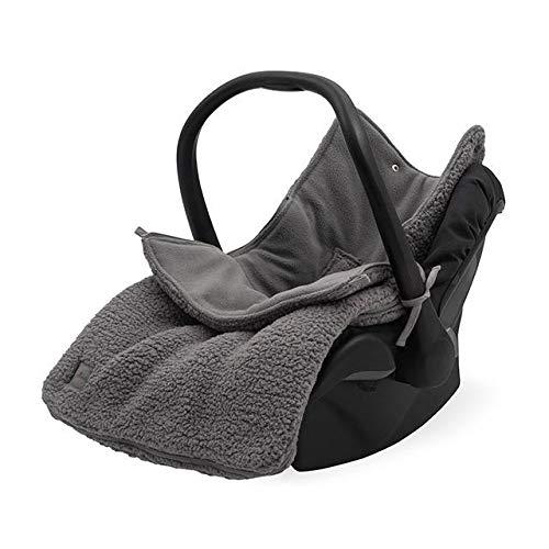 Jollein 025-811-65357 - Saco para silla de bebé (felpa, 82 x 42 cm), color gris