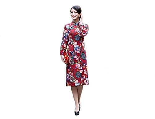XueXian?TM) Mujer de Qipao Vestido de Manga Larga de China Estilo(China 3XL/EU 42-44,azul profundo)