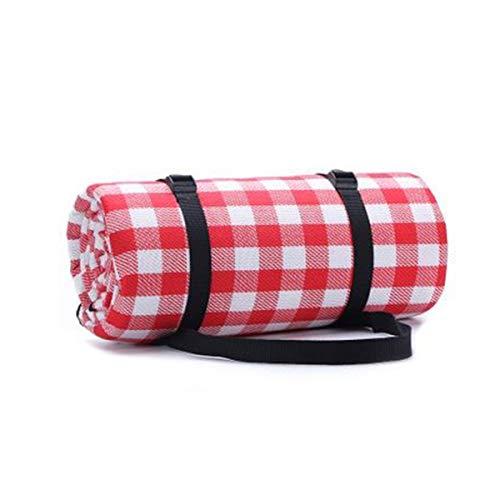 Picknickdecke, wasserdichte Outdoor-Matte, faltbare Plaid Decke für Camping, Wandern, Gras, Picknicks, Strand Gr. 80, rot / weiß