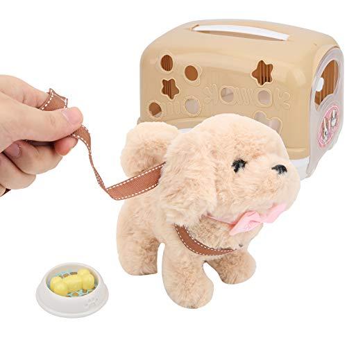 Fockety Juguete eléctrico para Perros, Juguete de Peluche Corto y Duradero de tamaño pequeño, para Regalo para niños Mayores de 3 años(Teddy)