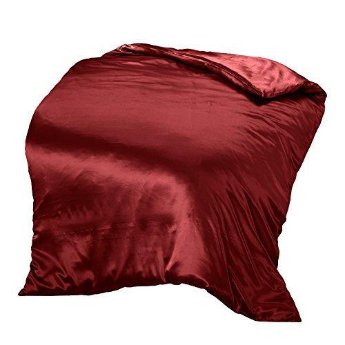 THXSILK Seide Bettbezug, Seide Tröster Cover, Seidenbettwäsche, 100% 19 Momme Bestnote Maulbeerseide Bettwäsche - Rot 135 x 200cm