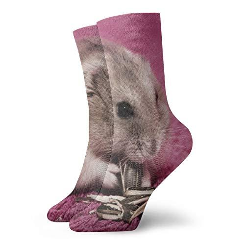 BJAMAJ Unisex Sokken Hamster Eten Voedsel Interessant Polyester Crew Sokken Volwassene Sokken Katoen