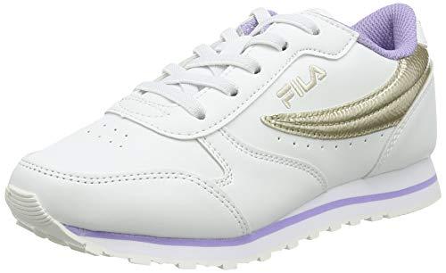 Fila Orbit F Low Kids Sneaker, White/Gold, 35 EU
