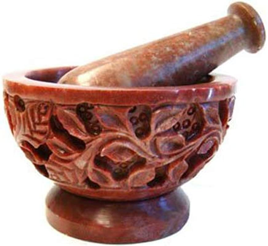 Hand Carved Flowers Vines Soapstone Mortar And Pestle Herb Spice Culinary Grinder Wicca