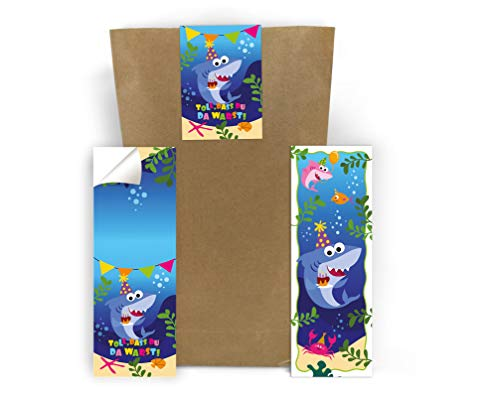 Junaversum 12 segnalibri + 12 sacchetti regalo + 12 adesivi a forma di squalo pirata bomboniera compleanno bambini battesimo matrimonio