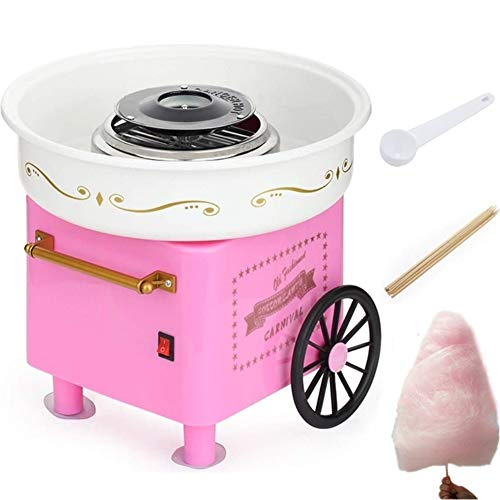 Nostalgia Vintage Hard and Sugar Free Countertop Cotton Candy Maker, Includes 10 x Bamboo Sticks And Scoop,Pink Trolley Creative Gift (Pink)