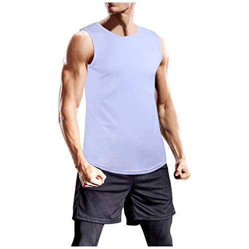 Yowablo Tank Top Herren Muskelshirt Gym Fitness Tanktop Tankshirt Ärmellos Bodybuilding Shirt Unterhemd T-Shirt Muskelshirt Achselshirt Ärmellose Training Gym (XXL,Weiß)