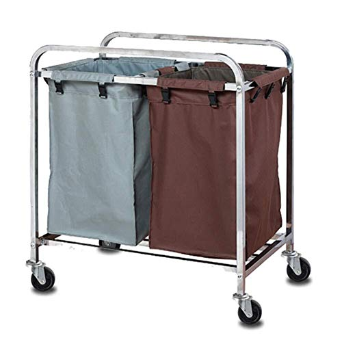 TQJ Storage Baskets for Bedroom Laundry Sorter Trolley Cart with 2 Durable Detachable Fabric Bags, 4 Metal Casters, Laundry Sorter for Hotel Bathroom Bedroom Storage Baskets Large