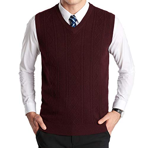 Yingqible Mens Invierno sin Mangas con Cuello en V Chaleco Prendas de Punto de Punto Chaleco suéter Caballero