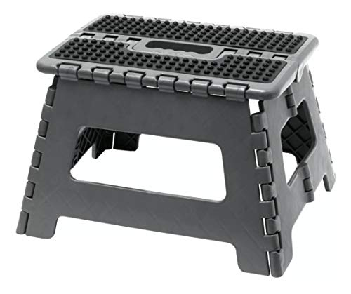 """Folding Step Stool 9"""" Strong Compact Non Slip Multi Purpose Easy Carry Foldable Stool for Kids & Adults, Garden Bathroom & Kitchen Step Anti Slip Hop Up Portable Folding Stool for Home or Camping GREY"""
