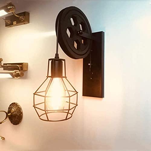 LIUYULONG Aplique de pared industrial estilo retro de hierro forjado polea de madera negro metal Color Restaurante Cafetería Corredor Hotel Luces decorativas para lavar la pared (Color: Negro)