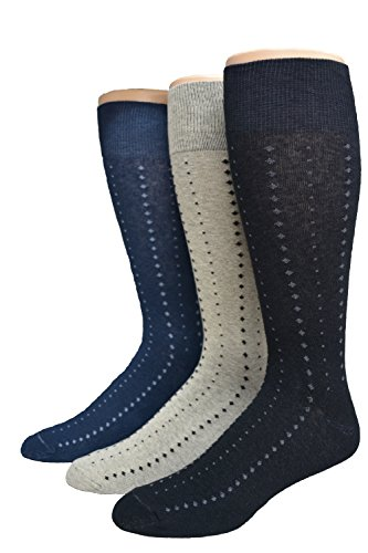 Men's Big & Tall Classic Patterned Dress Sock Asst. 3 pack (Navy/Black/Khaki), XL-Fits shoe sizes 12-17/Sock size 13-16