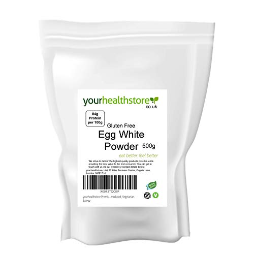 yourhealthstore Premium Non GMO Gluten Free Pure Egg White Powder 500g, High in Protein, No Additives, Not Irradiated, Vegetarian.