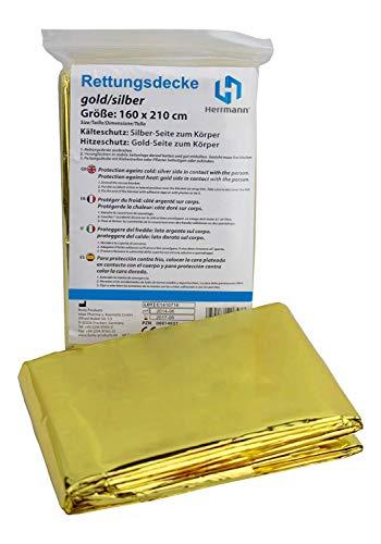 Rettungsdecke gold silber | 10 Stück 210 x 160 cm | Notfalldecke für erste Hilfe im praktischen Vorteilspack | Wasser- und winddichte Sicherheitsdecke zum Schutz bei Unfällen