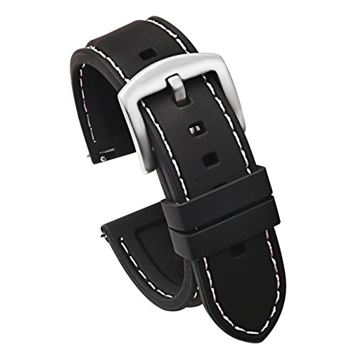 22mm Quick Release Silicone Watch Strap for Watches and Smartwatches Replacement Watch Band Black(White Stitching Silver Buckle)