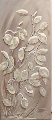Acrylgemälde VERSCHNEITE SILBERBLÄTTER 30cm x 70cm, Winterbild mit Glitter