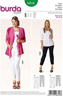 Burda Ladies Plus Size Easy Sewing Pattern 6816 Skinny Fitted Trousers & Capri Pants