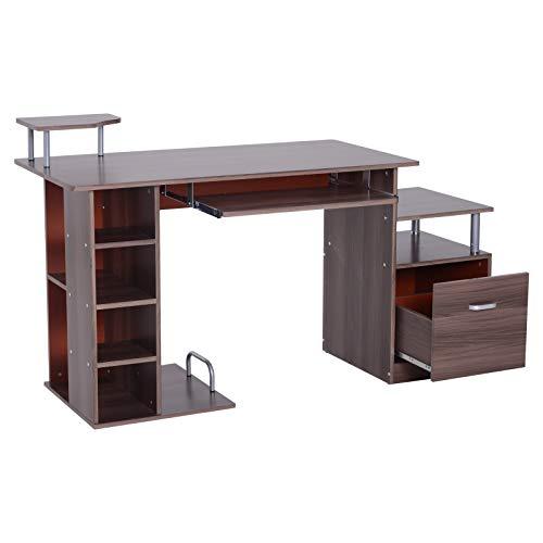 HOMCOM Computertisch Schreibtisch Bürotisch PC Tisch Arbeitstisch mit Schublade und Aktenhalterung 152 × 60 × 88 cm