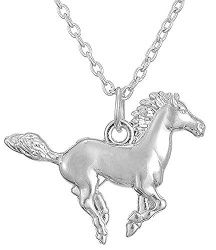 Fishhook Running Horse PONY Anhänger Halskette für Menschen und Tierliebhaber (Silber)