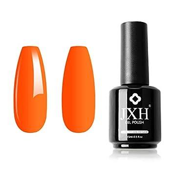 JXH Gel Nail Polish 15ml Bright Orange Color Soak Off Gel Nail Polish Nail Gel Polish Colors Professional UV LED Nail Art Manicure for Salon Designs and Home DIY Use 0.5 OZ