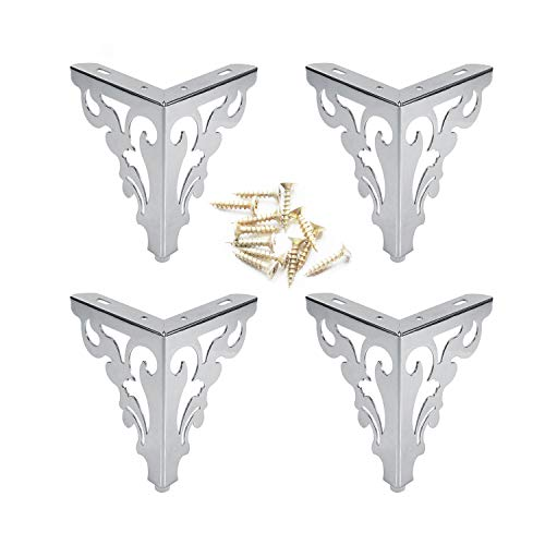 4Pcs Metal Furniture Sofa Legs European Flower Pattern Cabinet Feet Stainless Steel Furniture Hardware Accessories 2 Size (15CM, Silver)