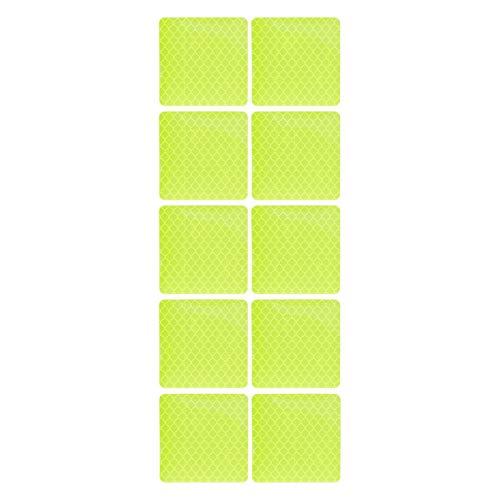 Vosarea 10 stücke Klebstoff Reflektierende Streifen Sicherheitsgurt Nachtfahrten Verkehrsband Platz Reflektierende Warnstreifen Aufkleber (Hellgrün)