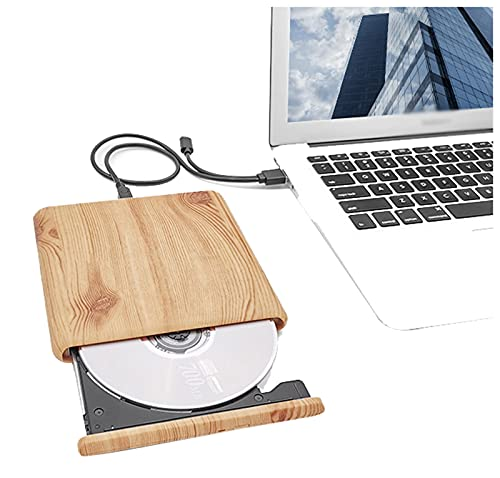 External CD DVD Drive, Type-C USB 3.0 Wood Grain Slim Portable CD/DVD-RW Burner Reader Data Transfer Super Drive