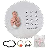 Baby Monthly Blanket with Extra Props - Headbands, Cloud | Double Sided Pom Pom Soft Thick Flannel Round Mat Rug | Baby Photography Months Tracker | Large Play Mat Swaddle Newborn Infant Boy or Girl